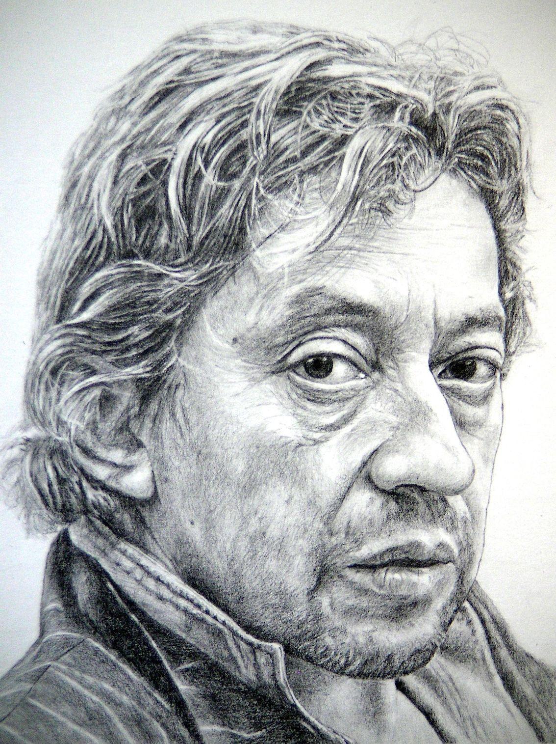 Serge Gainsbourg A3 Papier Blanc Graphite   Portrait ...