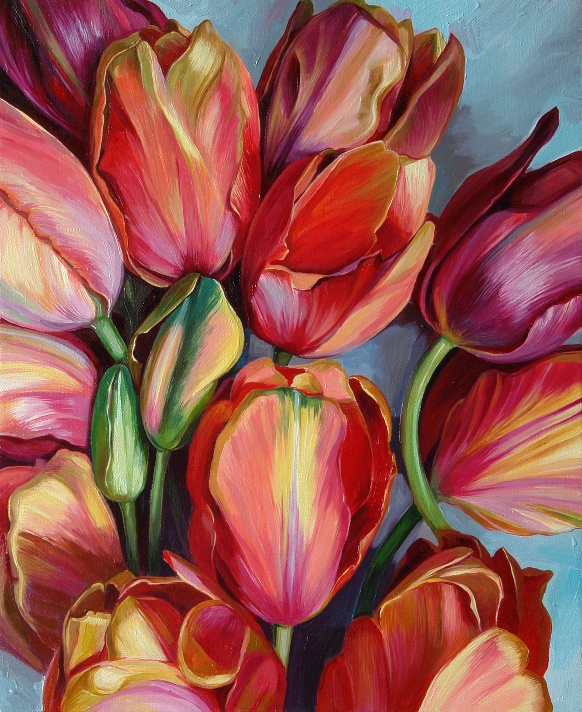 Red tulips, Original oil painting, Gift idea for woman