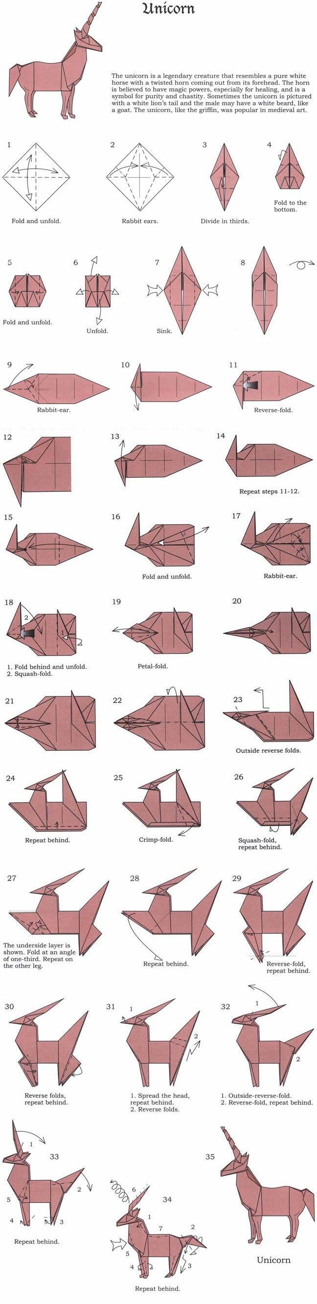origami unicorn 1 - 35 complete diagram