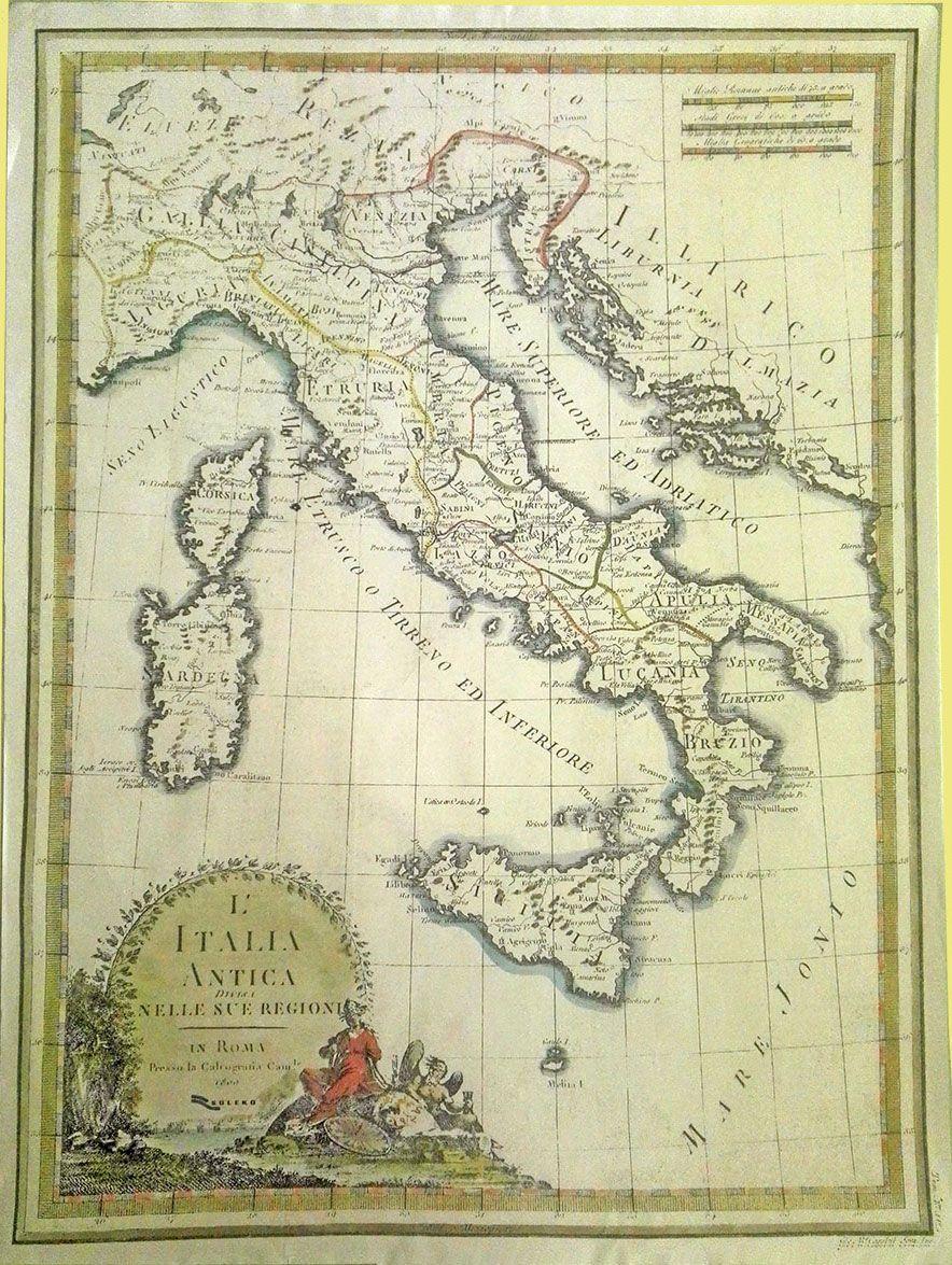 Cartina Del Mondo Nel 1800.Carta Antica Dell Italia Del 1800 Carte Geografiche Carta Geografia