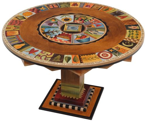 Hand Painted Wood Circle Dining Room Table / Furniture   Sticks