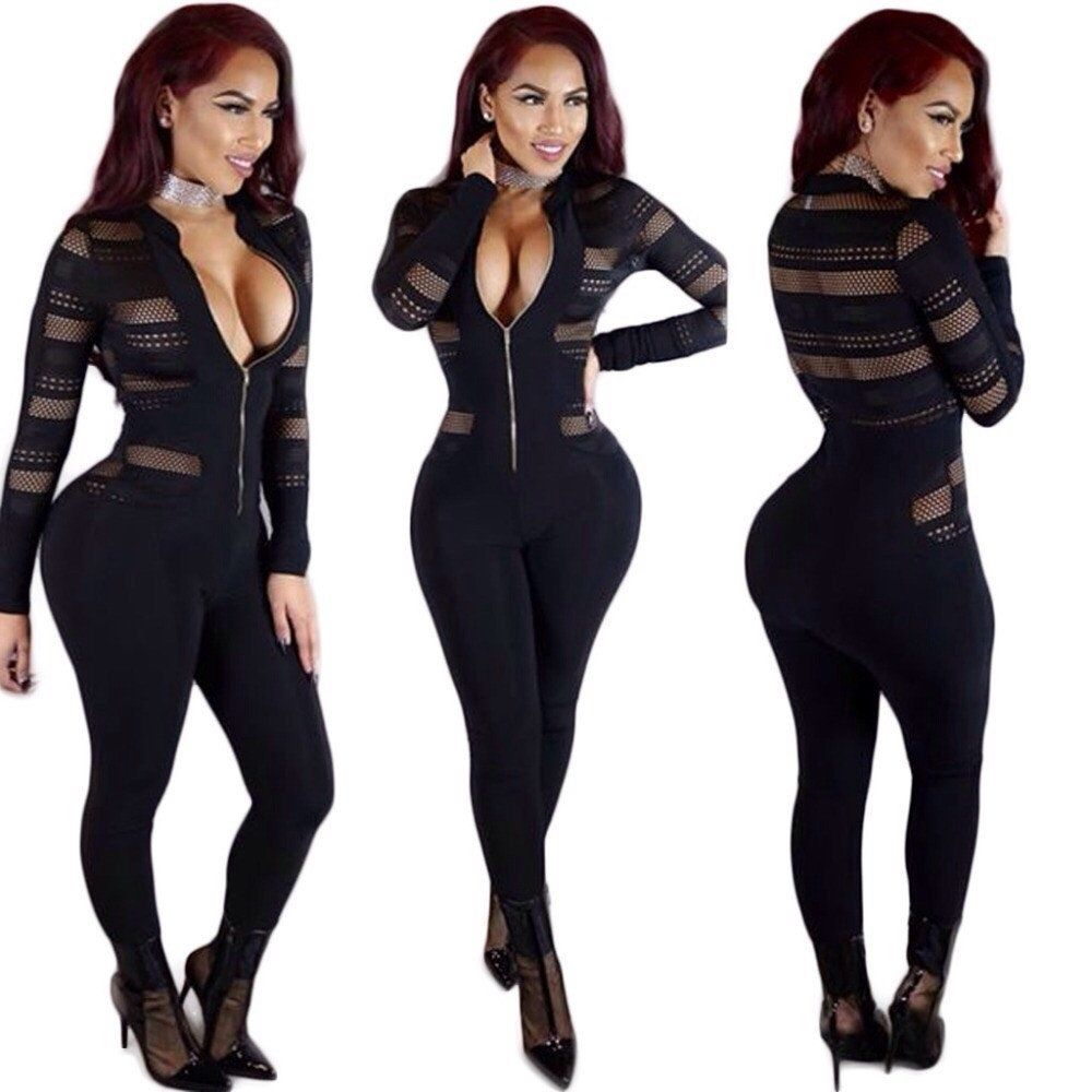 789fe31b9f50 2017 Hot model v neck rompers women jumpsuit full length sexy jumpsuit slim  bodysuit women clubwear S9670