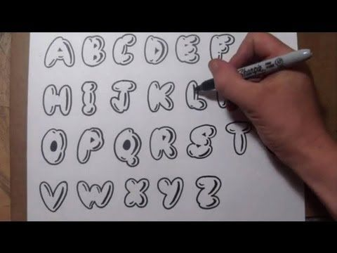 ▶ How To Draw Bubble Letters - Easy Graffiti Style Lettering ...