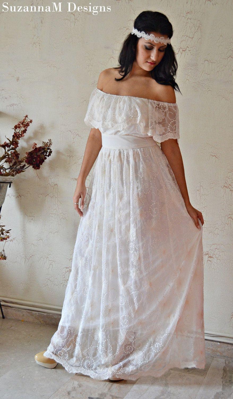 Ivory 100 Cotton Lace 70s Wedding Dress Vintage Gown
