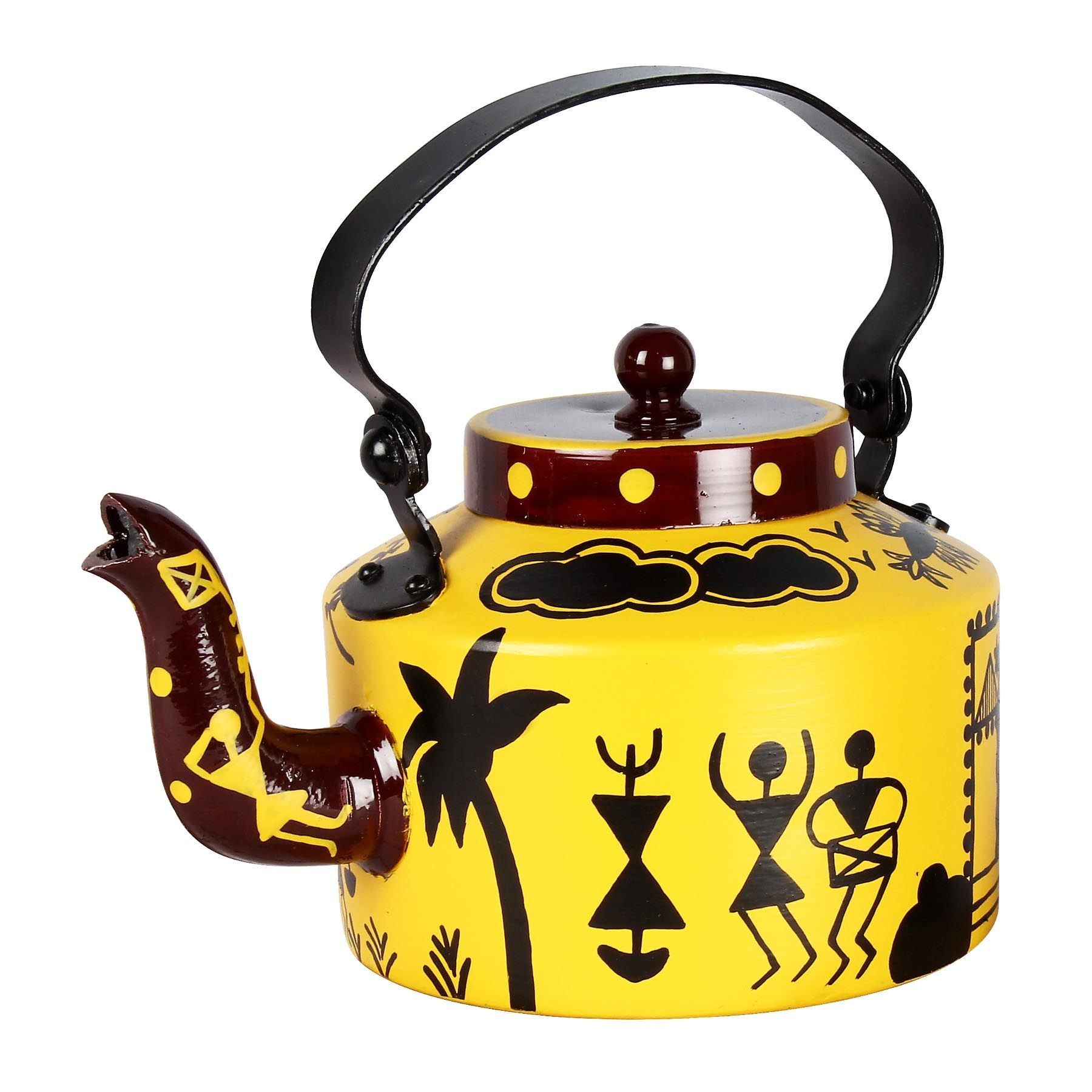 Offbeat and hand painted this kettle is adorned using Warli art ...