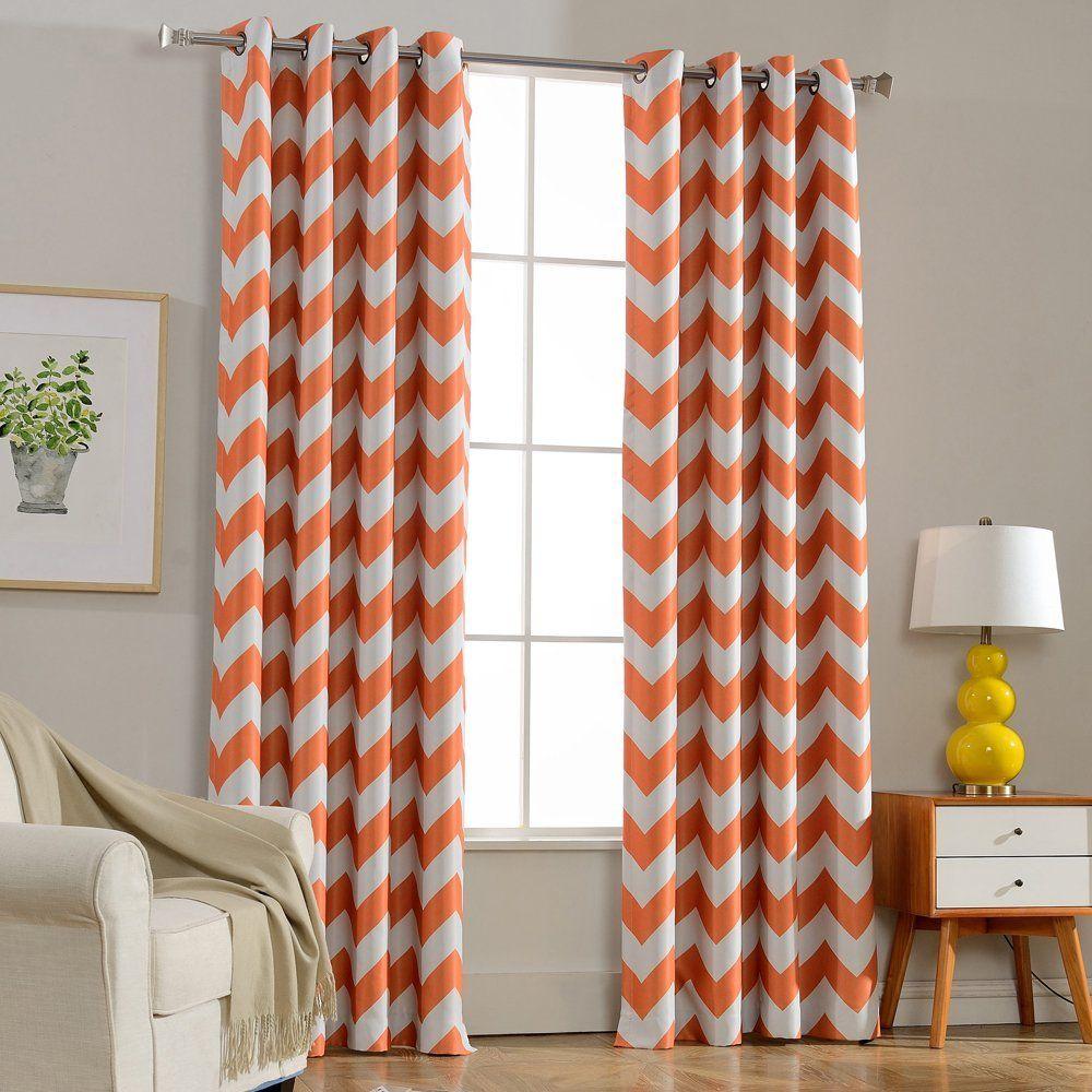 Orange Melodieux Chevron Room Darkening Blackout Grommet Top Curtains Curtains Living Room