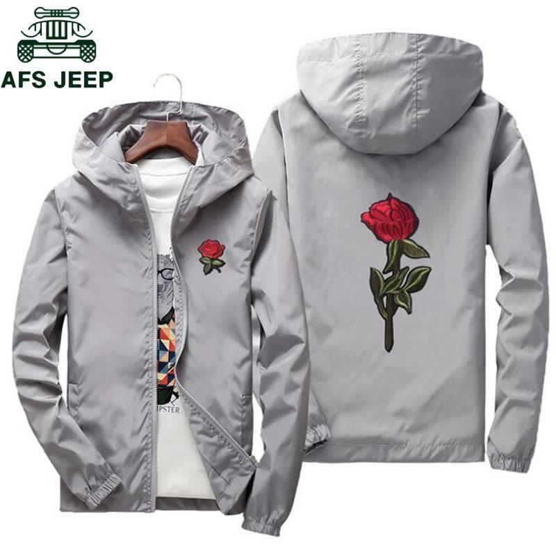 Afs Jeep Embroidery Rose Flower Windbreaker Jacket Men Big Size S