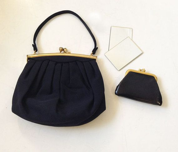 5615fc908383a1 1940s 1950s Morris Moskowitz Handbag with coin purse & mirror / 40s 50s MM  Handbag, Navy, Pleated, Gold tone Frame / Mid Century Evening Bag