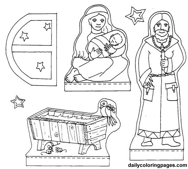 Nativity Diorama Christmas Coloring Pages