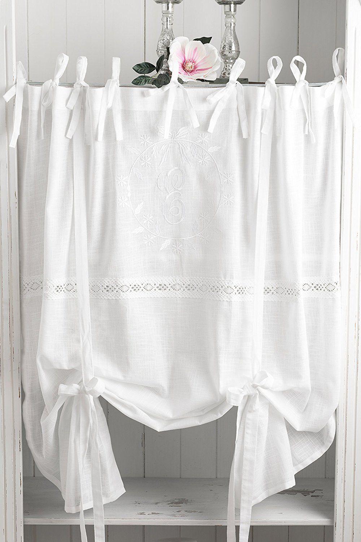 Amazon.de: Elvira Weiss Bestickt Raffgardine 160x120cm Gardine Raffrollo  Landhaus Shabby Chic Vintage
