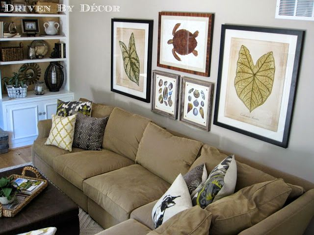 how to hang artwork over a sofa   family room art wall. House Tour  Family Room   House tours  Room and Living rooms