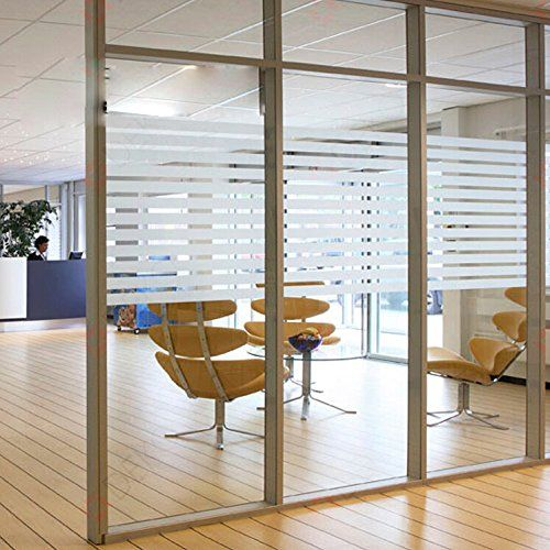 Coavas White Non-Adhesive Frosted Transparent Translucent Stripe Glass Film For Meeting Rome/ Mall Glass Wall /Glass Door/kitchen/Bath room/Sitting ... & Coavas White Non-Adhesive Frosted Transparent Translucent Stripe ...
