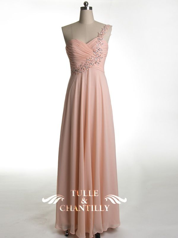 Flattering Coral Long Prom Dress with One Silver Embellished Strap ...