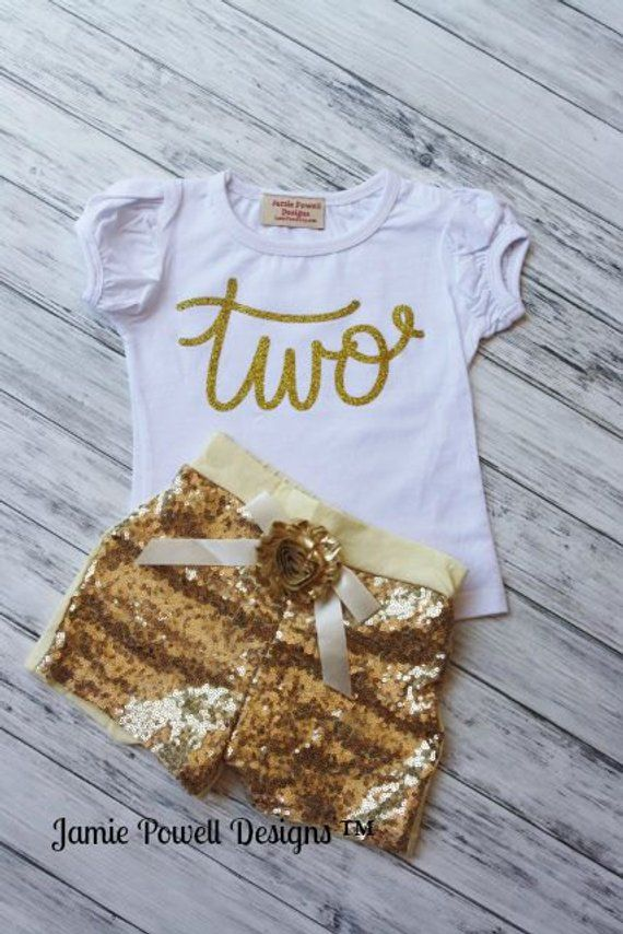 c109f6785 2nd Birthday Outfit- Baby Girls Birthday Clothes- Cake Smashing Outfit-ONE  TWO ETC Gold shirt and Se