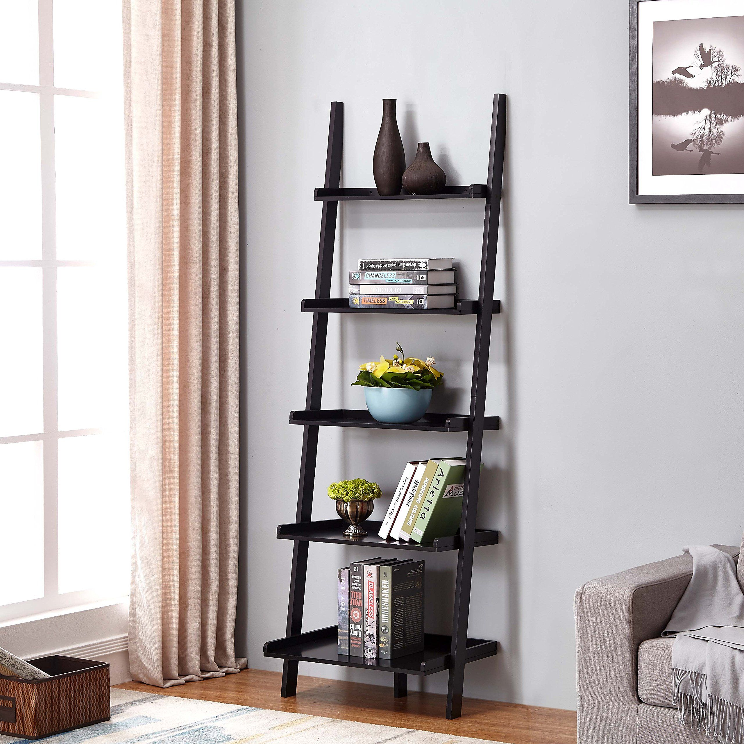 Black finish tier bookcase shelf ladder leaning height learn