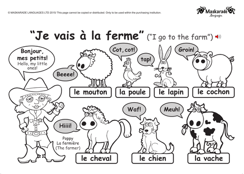 ks1 french level 1 farm and zoo animals zoos farming and animal. Black Bedroom Furniture Sets. Home Design Ideas