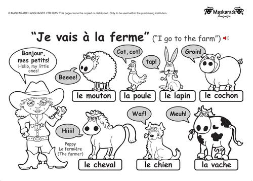 KS1 FRENCH level 1 Farm and Zoo animals Farm animals