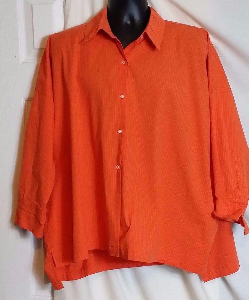 961342497842e0 I.C. By Connie K. Women's Orange Striped Button Front Cotton Blend Blouse  SZ XL #ICByConnieK #ButtonFront #Career