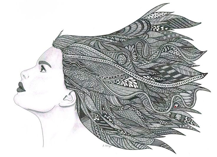 Line Art Portrait : Crazy zentangle portraits hair portrait drawing art