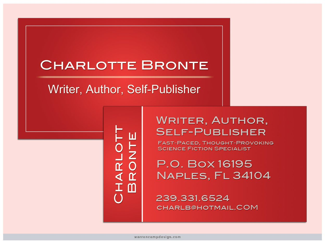 Writer, Self-Publisher: This simple double-sided business card ...