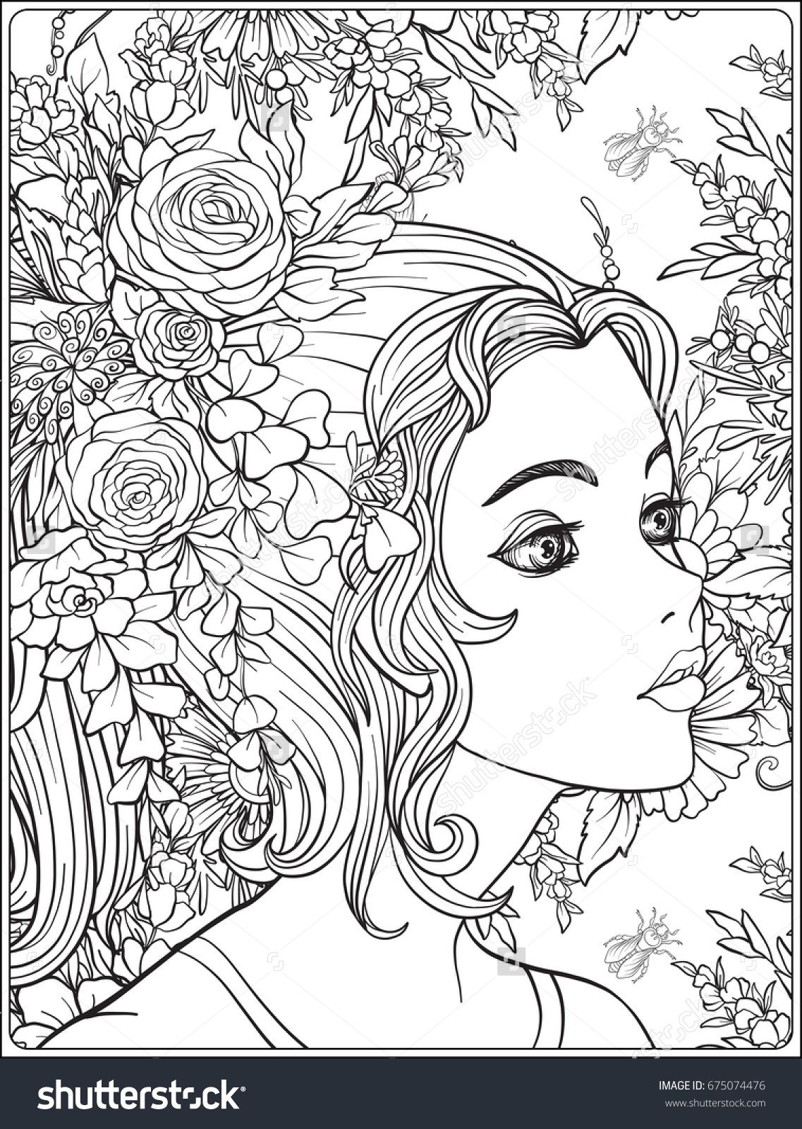 Girl With Paper Cup Coloring Page Stock Vector - Illustration of ... | 1600x1137