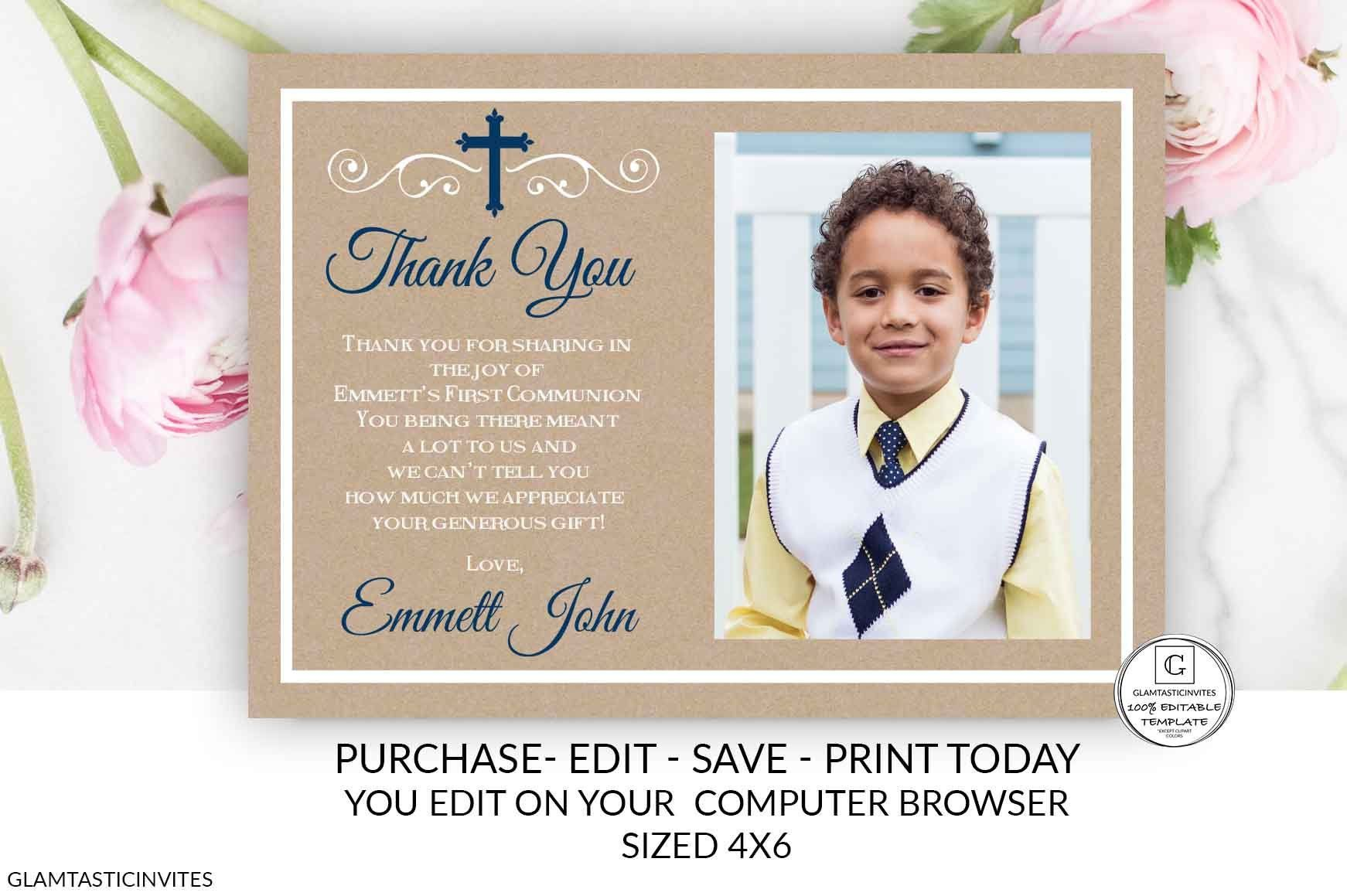 Boy Kraft First Communion Thank You Card 1st Communion Thank Etsy Electronic Invitations Print Your Own Invitations Thank You Cards