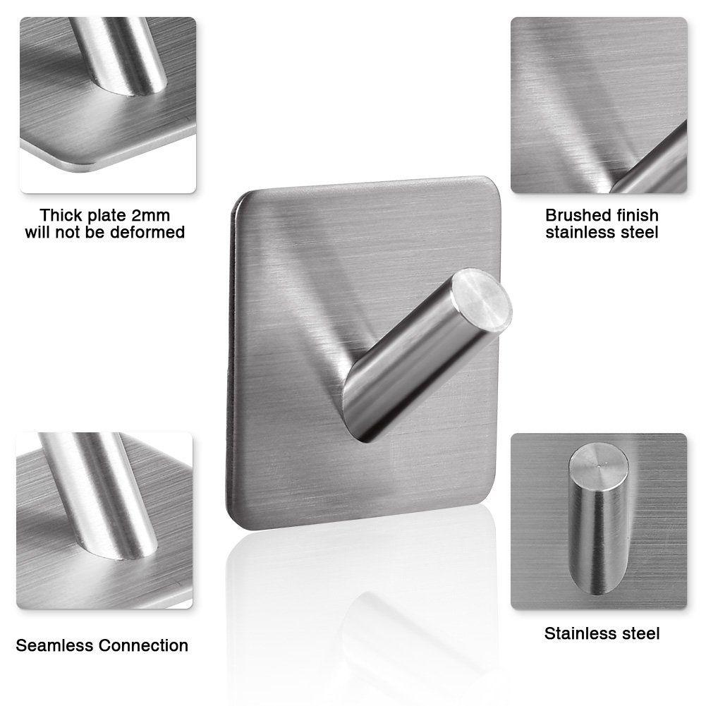 Geediar Adhesive Hooks Wall Hooks Hanger Stainless Steel Bathroom