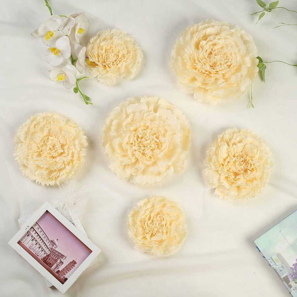 Pack Of 6 7 9 11 Ivory Cream Multi Size Carnation 3d