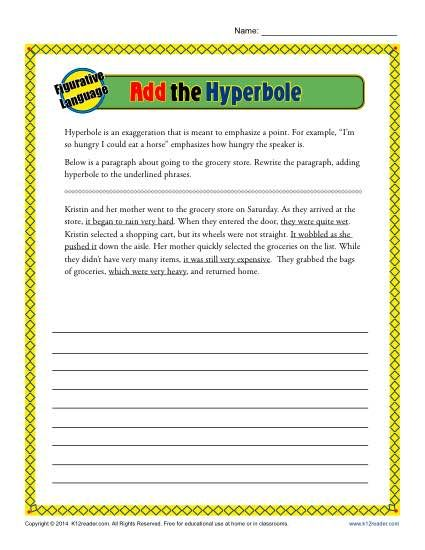 Add the Hyerbole | K12 | Figurative language, Language, Worksheets