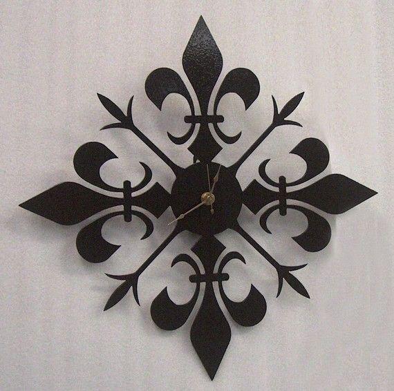 Fleur De Lis Metal Art Clock Free Usa By Knobcreekmetalarts 49 99 Fleur De Lis Clock