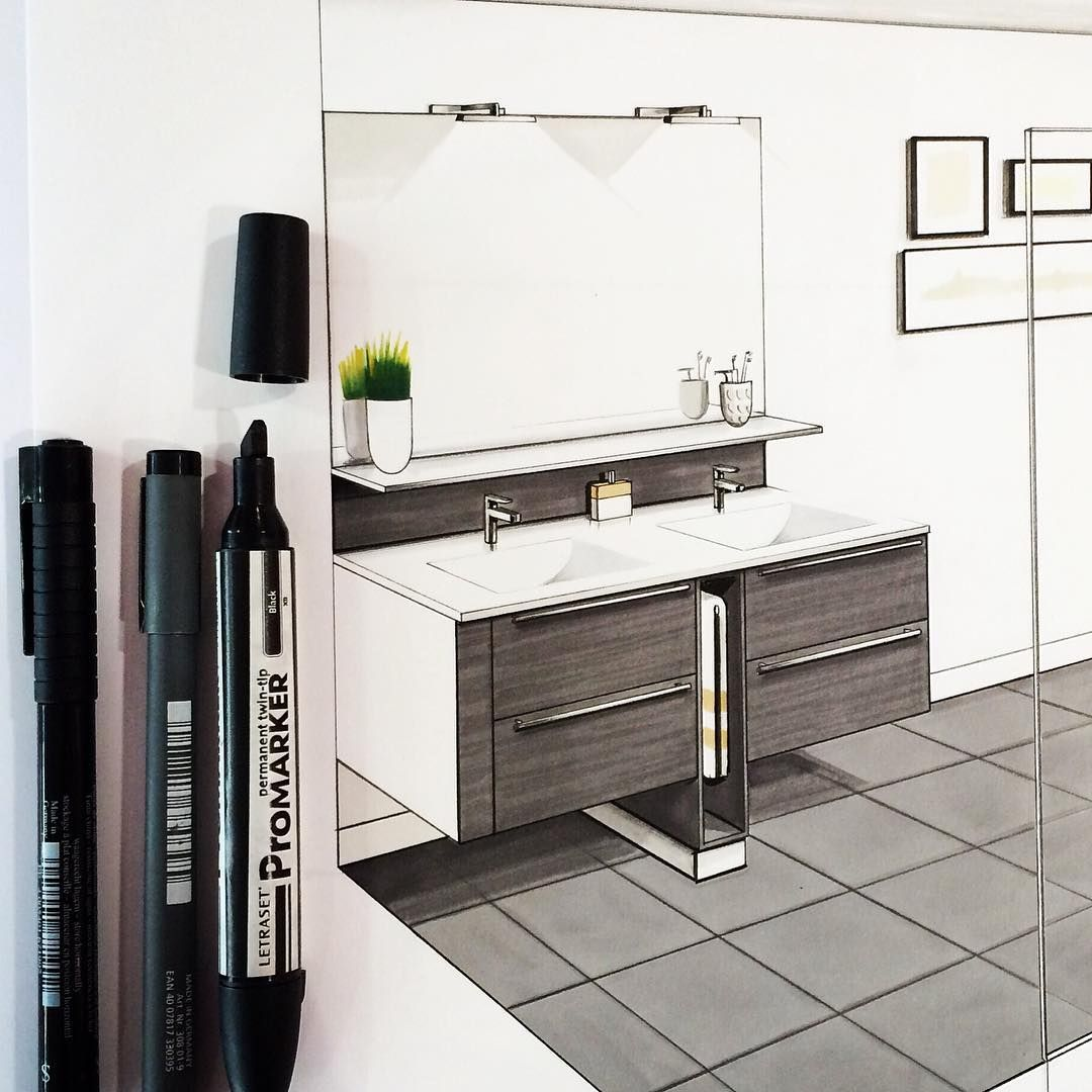 Bathroom perspective drawing - Draw