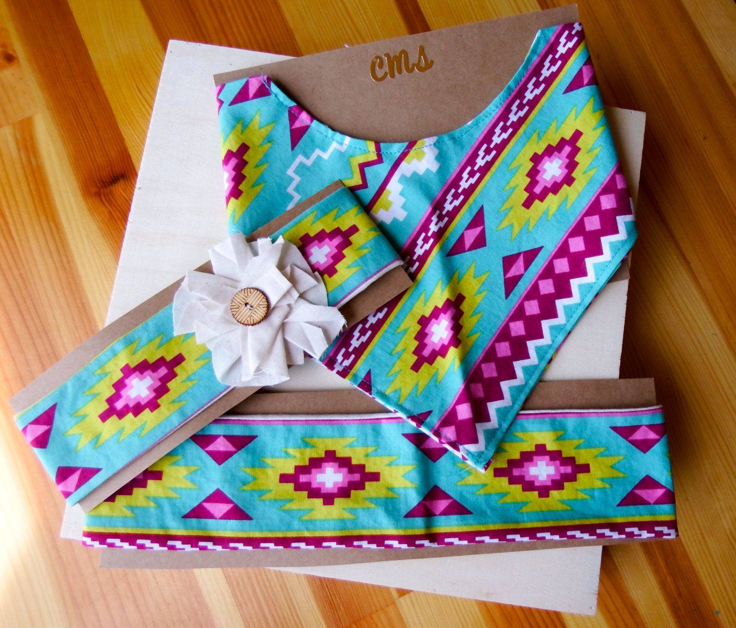 Headband and Bib Set Southwest Arizona Aztec Print Cotton Elastic Baby and Adult Hair Accessories with Flower, Baby Shower Gift - pinned by pin4etsy.com
