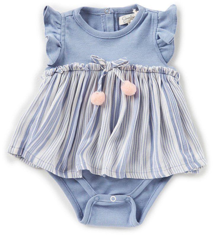 8fa64596fa7d Jessica Simpson Baby Girls Newborn-9 Months Striped Skirted Bodysuit ...