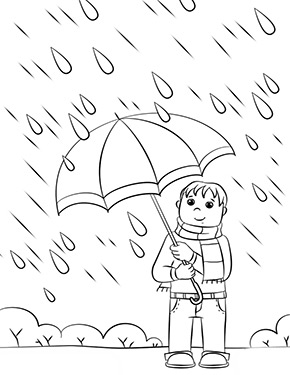ausmalbild frühling - junge im regen zum ausdrucken und ausmalen. ausmalbilder   malvorlagen