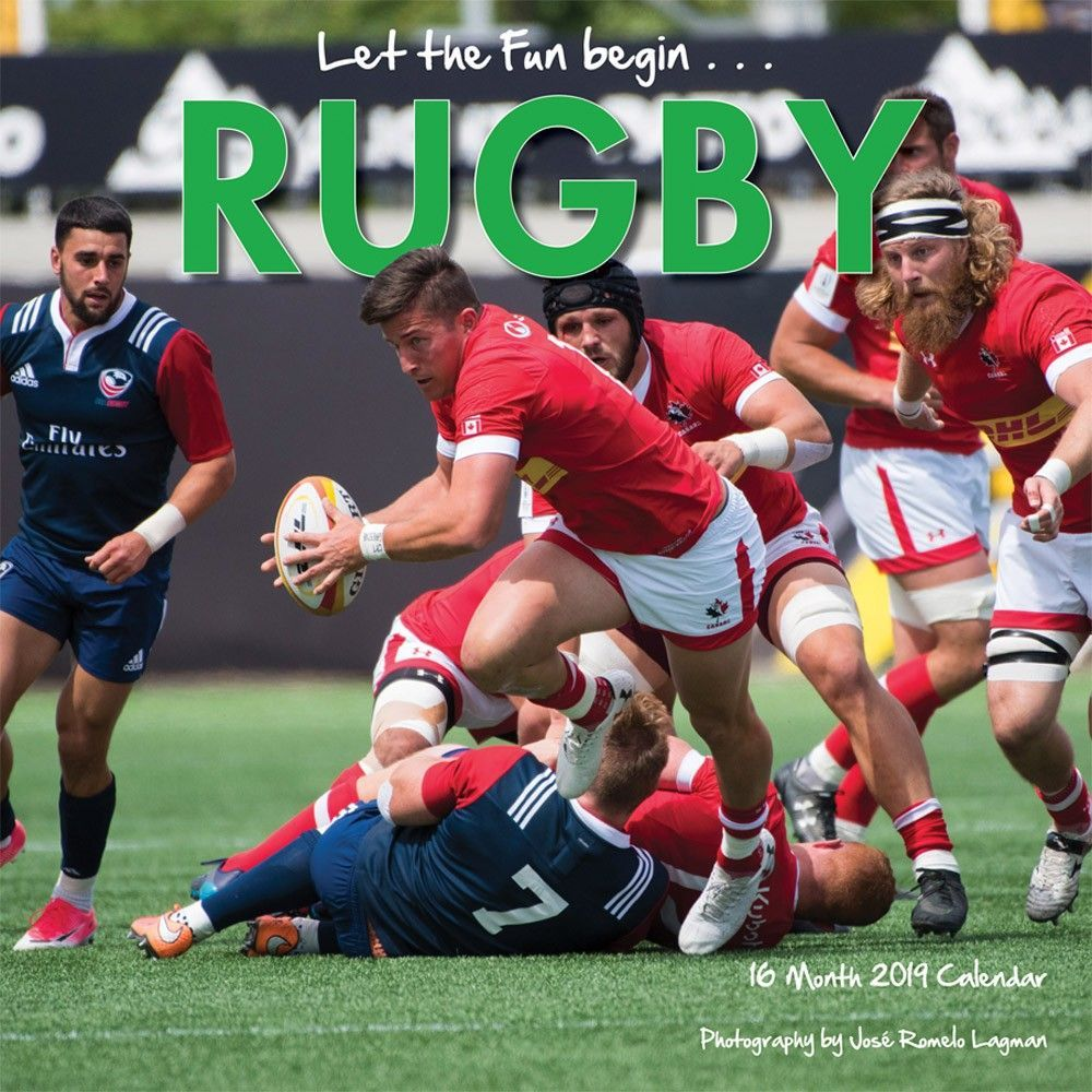 Rugby 2019 12 x 12 Inch Monthly Square Wall Calendar by
