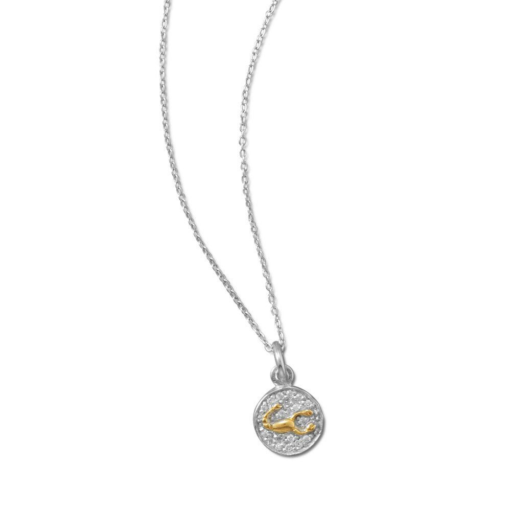 Rhodium plated two tone zodiac necklace scorpio horoscope extension rhodium plated sterling silver chain with 14 karat gold plated sterling silver scorpion zodiac symbol pendant the cz encrusted pendant is ap biocorpaavc Gallery