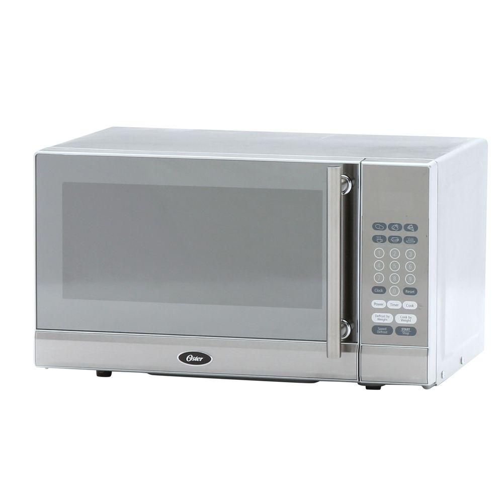 Oster 0 7 Cu Ft Countertop Microwave In Stainless Steel Silver Products Pinterest Stainless Steel Microwave And Countertops