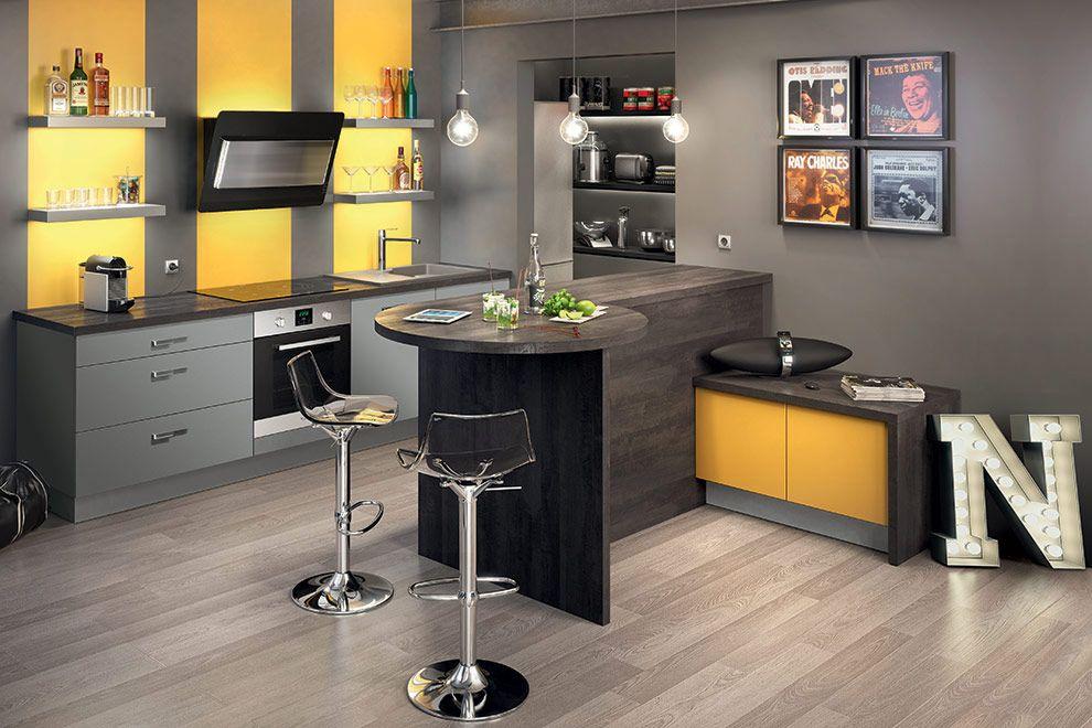 Façades mezzo mélaminé mat coloris gris souris mat jaune moutarde mat epaisseur 18 mm en ppsm panneau de particules surface mélaminé corps de meuble