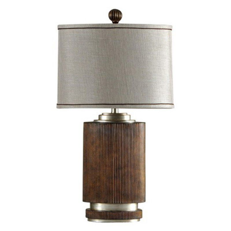 StyleCraft Ribbed Wood Finish Table Lamp - L32576