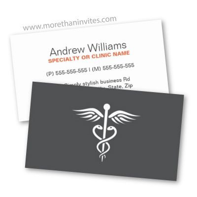 modern simple yet elegant medical doctor business card white caduceus on a dark gray - Doctor Business Card