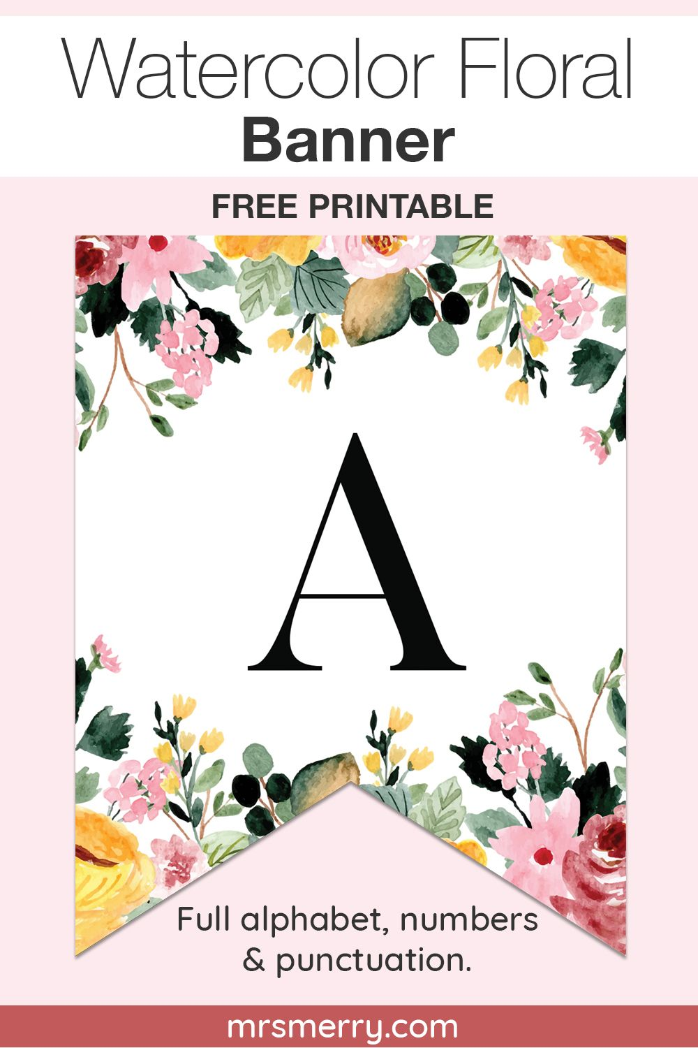 Free Watercolor Letter Banner Printable Party Decor Birthday Banner Free Printable Happy Birthday Banner Printable Free Free Printable Banner Letters