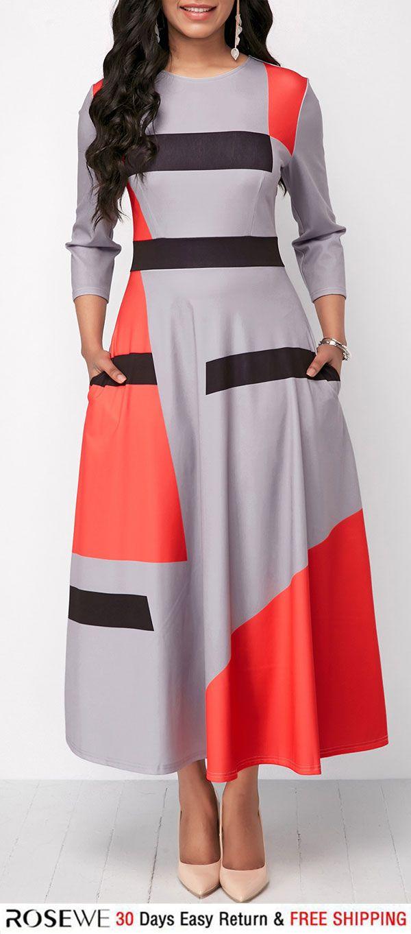 Pocket three quarter sleeve maxi dress fall dress pinterest