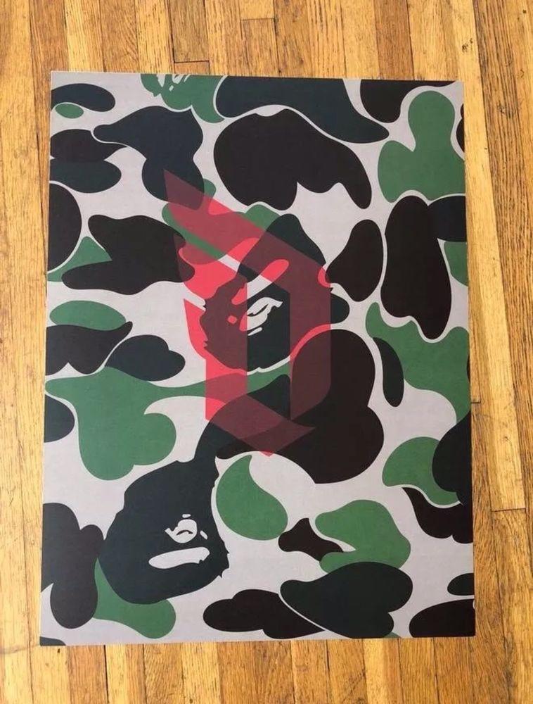 "Bape Adidas Dame A Bathing Ape Camo 18"" X 24"" Poster 747 LA Exclusive Supreme"