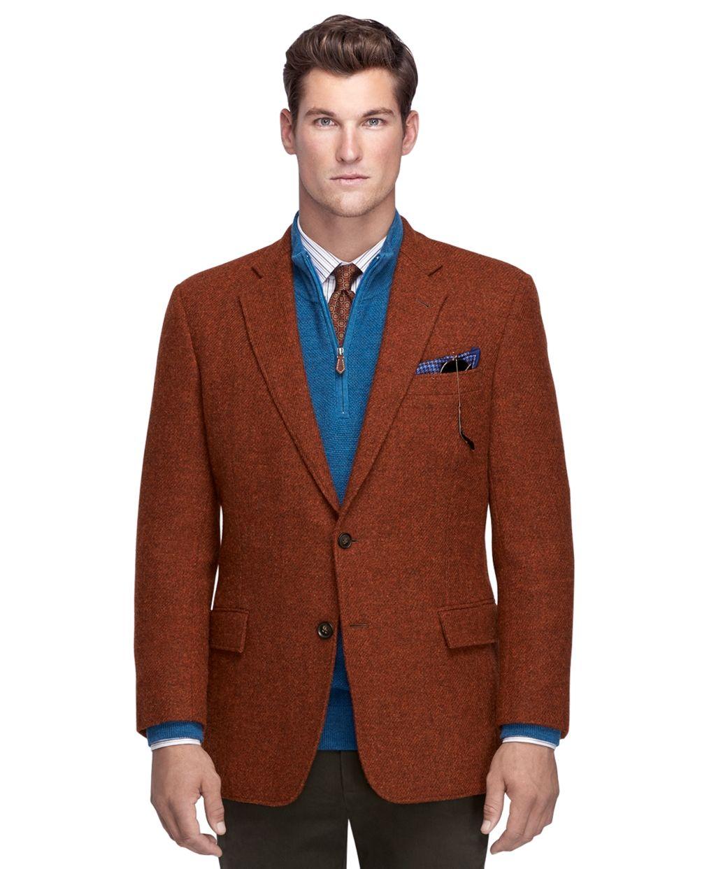 Brooks Brothers rust Harris tweed sport coat Sport coat