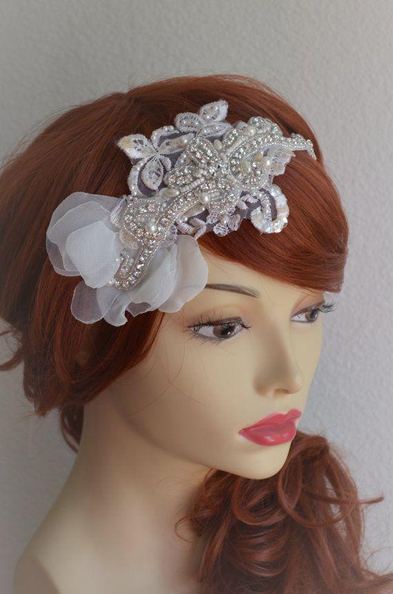 READY TO SHIPIvory Crystal beaded headband Lace by yanethandco
