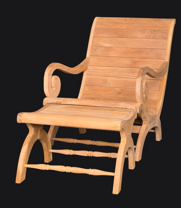 The Outdoor Teak Plantation Chair With Matching Footrest, Made Of  Kiln Dried, Grade