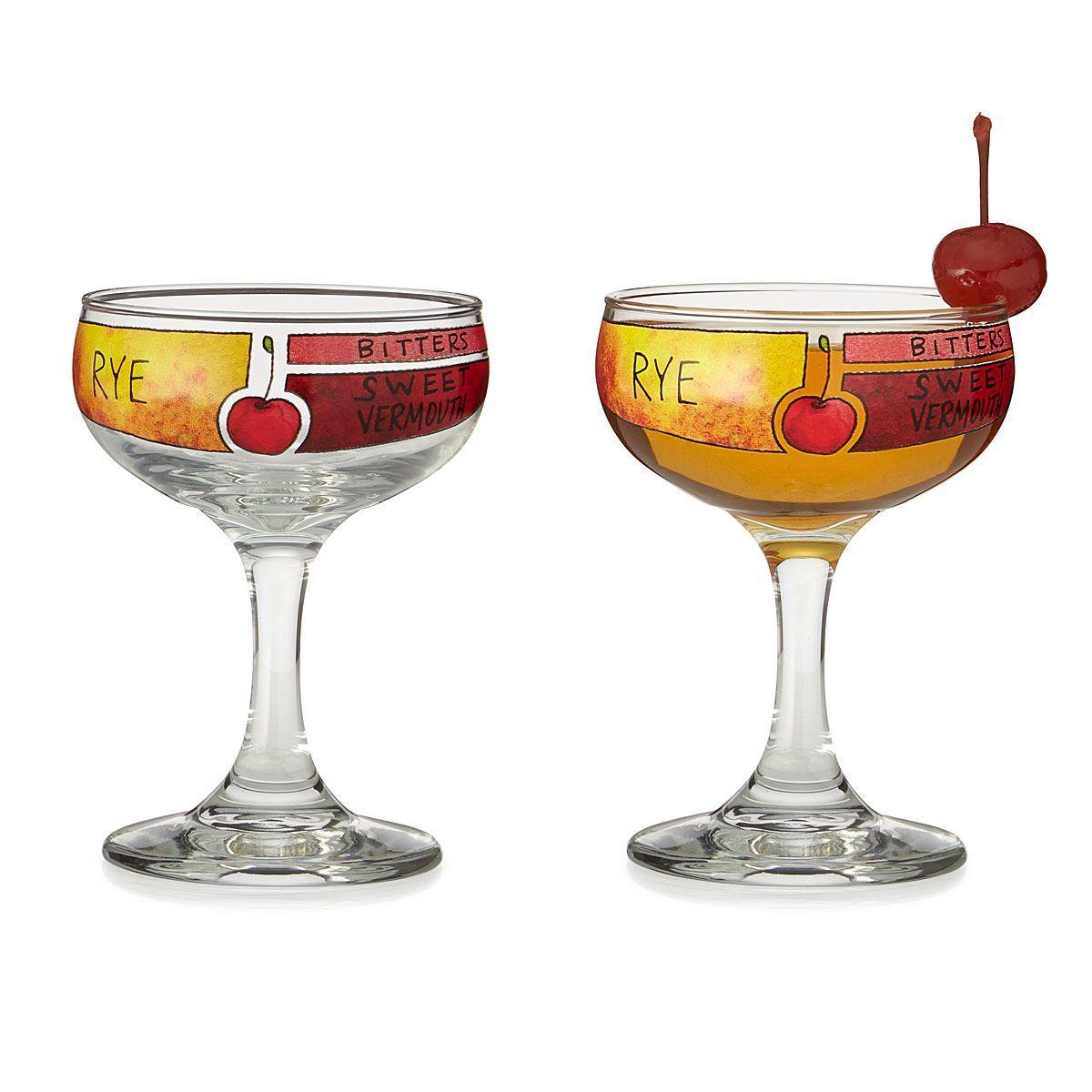 Manhattan Cocktail Diagram Glassware Set Of 2 Unique Barware Gift Classic Cocktails Manhattan Cocktail Cocktails
