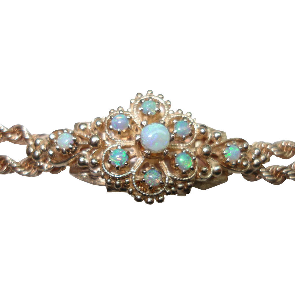 Opal kt gold flip top hidden ladies wristwatch rope bracelet