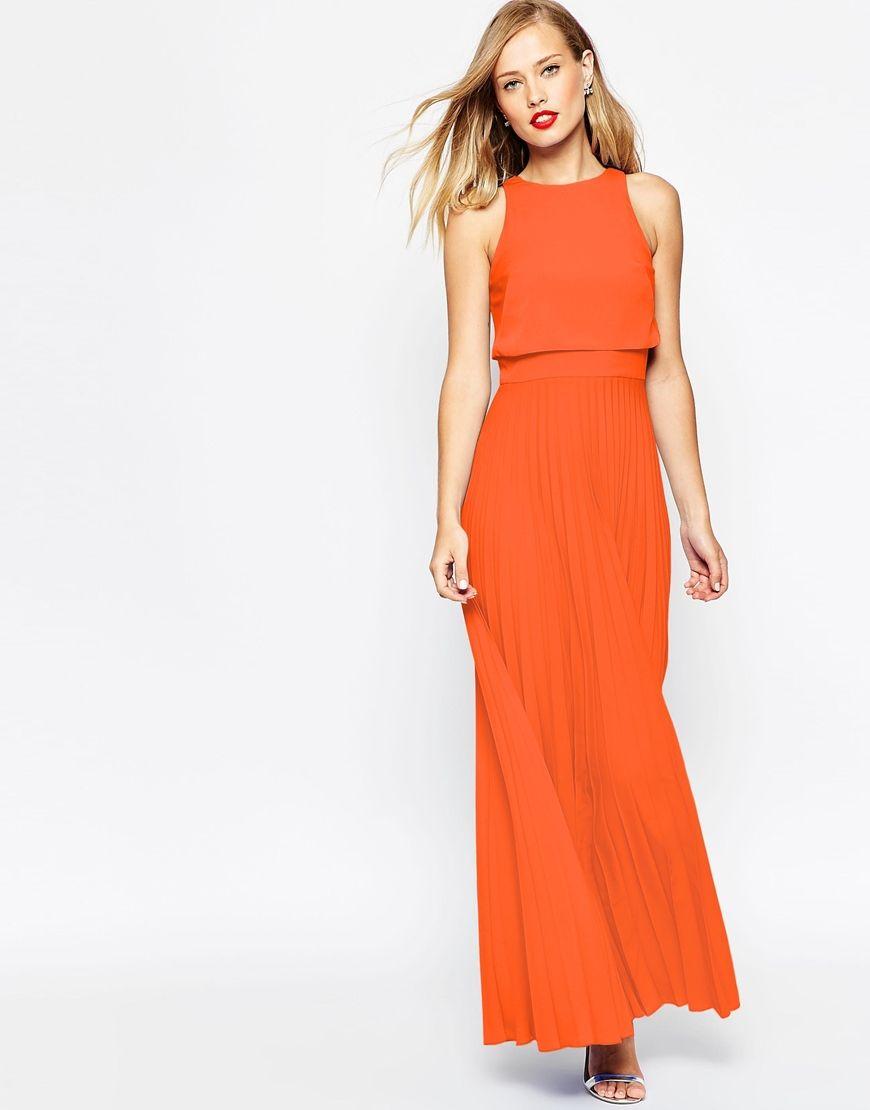 f47706ecaf3 Image 1 of ASOS Pleated Crop Top Maxi Dress Burnt Orange Dress