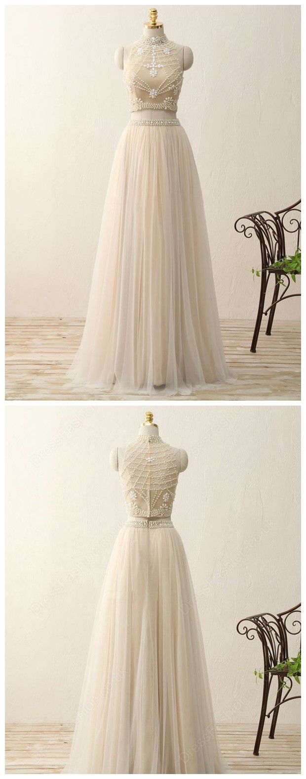 Two piece champagne prom dresses wedding party dresses formal gowns